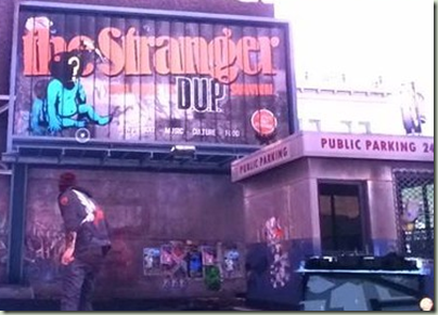 The Stranger weekly billboard in Infamous: Second Son